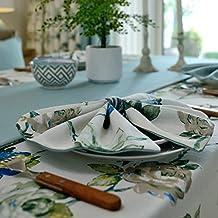 RUGAI-UE Mesa Redonda de tela paño rectangular minimalista moderno salón jardín pequeño mantel de lino fresco,Mareas Lunar Flower Han Ab superficie de alfombra,30*40cm Cena Mat