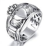 Adisaer Ring Silber Herren Ring Männer Rocker Punk Silber Schwarz Hand mit Krone Herz Ring Größe 60 (19.1) Retro Bandringring Valentinstag Jahr Ring Für Liebe