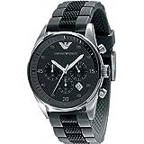 Emporio Armani Gents Chronograph Sports watch, Round Case Black Silicone strap.