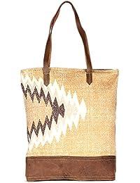 Multi Color Leather And Rug Tote Shoulder Bag Stylish Shopping Casual Bag Foldaway Travel Bag