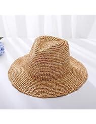 Retro artesanales de mujeres superó el techo plano de ala ancha sun diario jazz café ligero sombrero de paja,