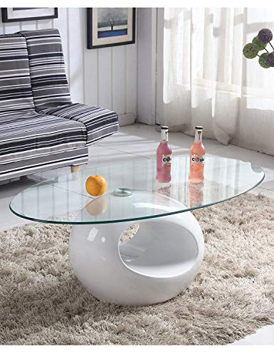 GOLDFAN Moderne Table Basse Haute Brillance Multifonctionnelle Table à Café Ovale avec Plaque en Verre Laqué Base Blanc pour Bureau, Salon, Blanche
