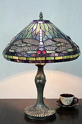 Carl Artbay 12 Zoll Vintage Pastorale Libelle Buntglas Tiffany Tischleuchte Schlafzimmer Lampe Nacht Tischleuchte