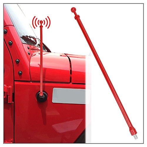 Antenne für Wrangler TJ 1997-2006, Antenne ersetzen AM FM Radio Antenne Metall Aluminium Heavy Duty rot