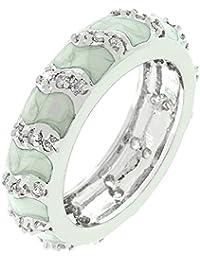 Eleganter Ring mit Zirkonia Diamanten und grauer Emaille, 14 Karat Weißgold Vermeil