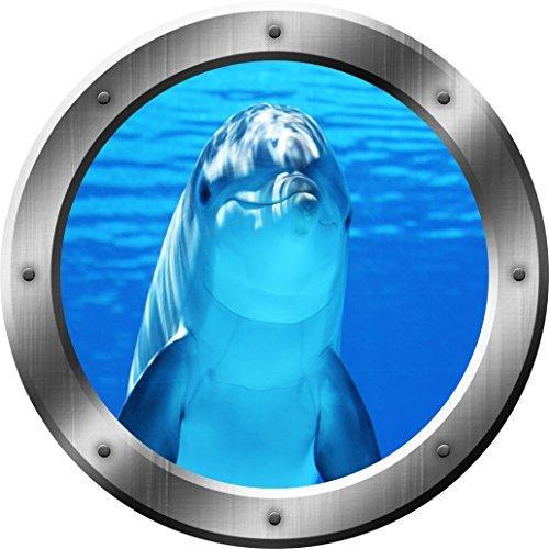 VWAQ Schweinswal Wand Aufkleber Delfin Bullauge 3D Wandtattoo Abziehen und Aufkleben Decor vwaq-sp29 Modern 14