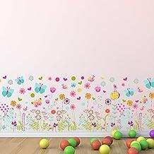 Walplus pared pegatinas mariposas y flores– extraíble adhesivo decorativo para murales nursery restaurante Cafe Hotel Edificio oficina decoración del hogar