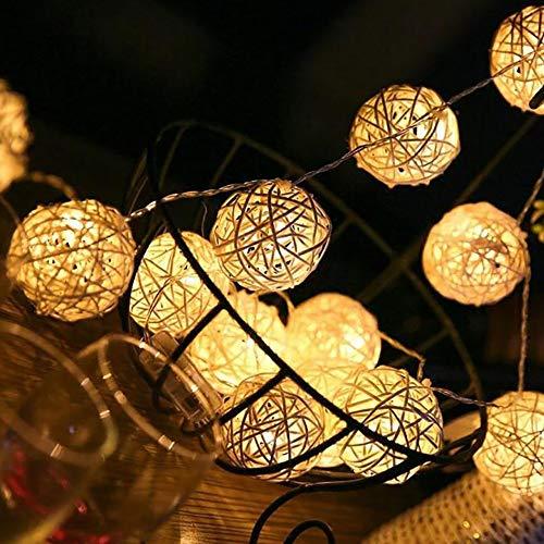 FSBMIN Rattan Lichterkette 40 LED USB Rattan Ball Lichterketten 16FT/5M Warmweiß mit 8 Beleuchtungsmodi für Hochzeit Rasen Weihnachten Halloween Party Innen- und Außendekoration