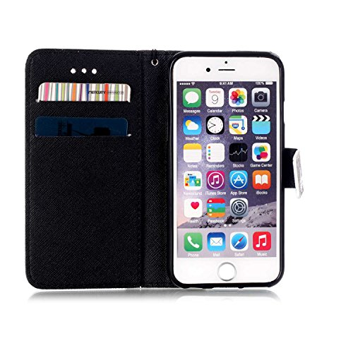 PU Cuir Coque Strass Case Etui Coque étui de portefeuille protection Coque Case Cas Cuir Swag Pour Apple iPhone 6/ iPhone 6S (4.7 pouces)+Bouchons de poussière (O7) 6