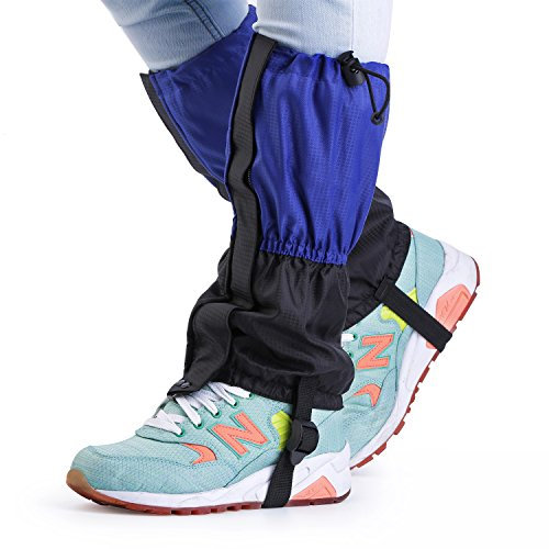 OUTAD Waterproof Outdoor Hiking Walking Climbing Hunting Thickening Snow Legging Gaiters for Child(Pack of 2) (Blue)