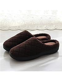 f058e6a4c1181 YMFIE Los Hombres del otoño y el Invierno Suave Interior Suelas  Antideslizantes de algodón cálido Zapatillas