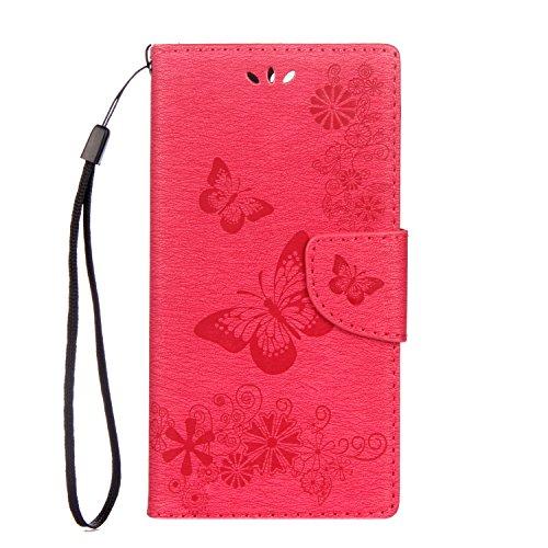 Funluna Sony Xperia XZ Premium Hülle, Blumen&Schmetterling Muster Folio PU Leder Flip Case Brieftasche Stand Funktion/Kartenfächer Handy Schutzhülle für Sony Xperia XZ Premium, Magenta Premium-magenta Rose