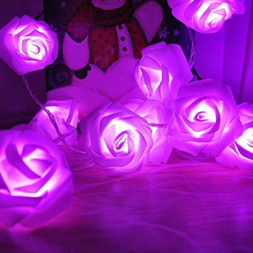 Blumen LED Lichterkette, Rusee 20 LED Rosen Lichterkette Batteriebetrieben Innen Im Freien Beleuchtung für Garten Rasen Bar Verein Hochzeit Valentinstag Weihnachten Schlafzimmer Innendekoration (Kostüme Farbe Lila)