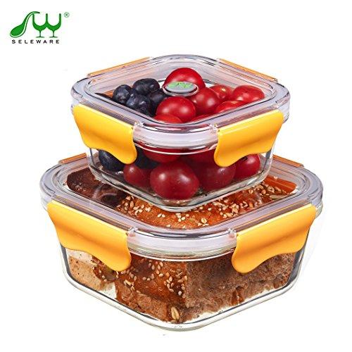 SELEWARE vetro impilabili alimentari contenitori di stoccaggio con coperchi a