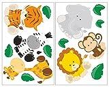 plot4u 14-Teiliges Dschungeltiere Wandtattoo Set Löwe Giraffe Affe Kinderzimmer Babyzimmer in 5 Größen (2x16x26cm Mehrfarbig)
