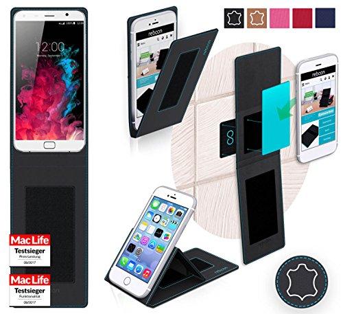 reboon Hülle für UMi Touch Tasche Cover Case Bumper | Schwarz Leder | Testsieger
