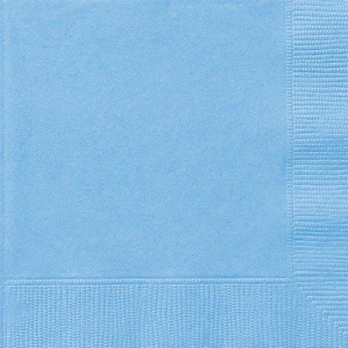 Unique Party 6.5`` Baby Blue Paper Napkins, Pack of 20