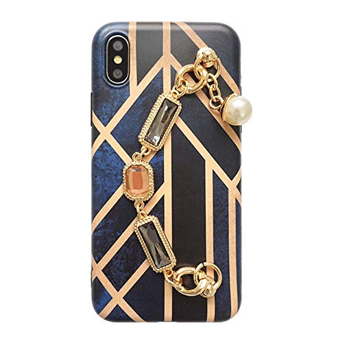 FENGT Apple Phone Case FüR iPhone XS Max/XS/Xr / 8/7/6 Plus Kreative PersöNlichkeit Kette Strass Luxus All-Inclusive-HandyhüLle FallschutzhüLle,iPhone8Plus/7Plus - Case Gucci Phone