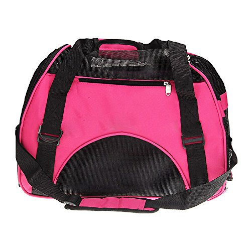 Kiste Reisen Hund (Haustier Tragetasche - SODIAL(R) Haustier Hund Katze Welpen tragbare Reise Traeger Gewebe Kiste Tragetasche Kaefig Taschen Tragetasche Hundehuette rosa)