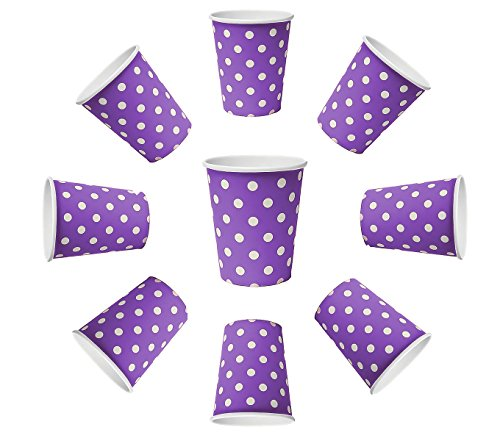50 x Becher 200ml dots Lila, Violet Punkte, Pappbecher, Einwegbecher für Getränke Snacks Heiß- und Kaltgetränke