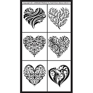 Armour Products Plastic Rub 'N' Etch Designer Stencil 5-inch x 8-inchFancy Hearts