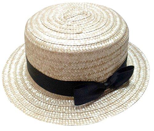 Accessoryo - Damen Strohhut Hut mit schwarzem Bogen Band