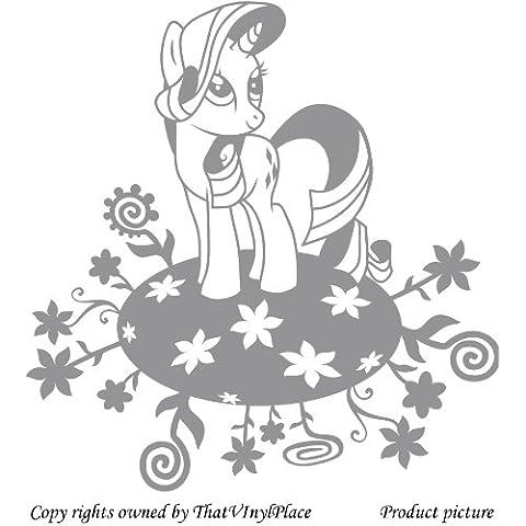 My Little Pony pegatinas, 60 x 58 cm flores de color gris Disney, dormitorio, caballo, la habitación de los niños pegatinas, vinilo del coche, las ventanas y pared, ventanas de pared arte, etiquetas, adorno de adhesivo de vinilo