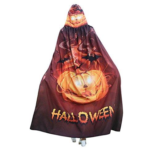 UJUNAOR Männer Frauen Neuheit Pumpkin Print Cape Schal Halloween Poncho Schal Wrap Kostüm für Camping Outdoor Aktivitäten(Gold,One ()