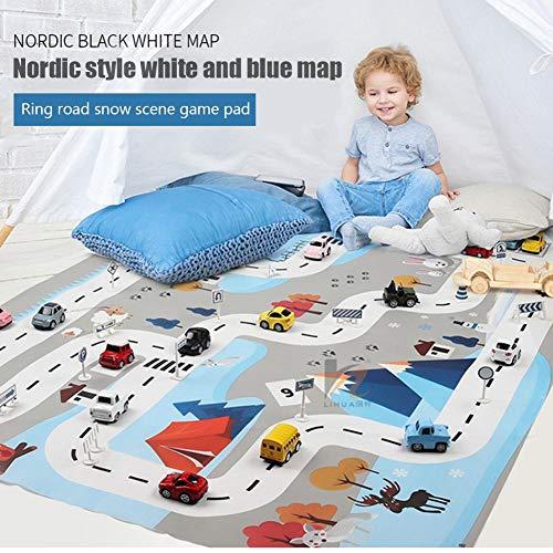 Nrkin Kinderteppich Spielmatte Teppich City Life Ideal Zum Spielen Mit Autos Und Spielzeug 130 100, Pädagogische Spielmatte Für Den Straßenverkehr Für Kinder, 8 Spielzeugautos 18 Verkehrszeichen