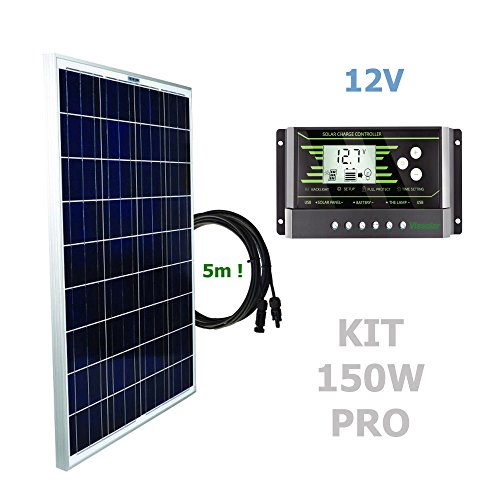 Kit 150W PRO 12V panel solarComposición del Kit Solar:Panel solar fotovoltaico 150W 12V cable 5mRegulador solar de 20A 12V/24V con display y 2 USB LCD VIASOLAR Especificaciones técnicas:Panel solar fotovoltaico 150W 12V cable 5m Cell Size: 156mmx156m...