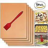 Cuivre Grill Tapis Lot de 5 avec une brosse en silicone Rouge, fibre Grille pour...