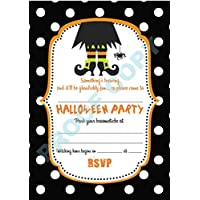 HALLOWEEN #63 polka dot INVITATIONS childrens kids party invites Pack of 10 inc. envelopes