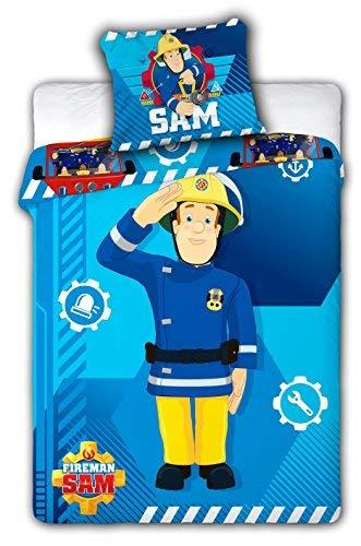 Sam Pompier parure de lit housse de couette 100x135 + Taie d'oreiller 40x60 linge de lit réversible Fireman Sam 100% Coton