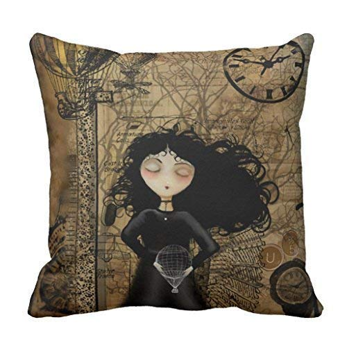 Liumiang Kissenbez¨¹ge Exotic Fashion Steampunk Girl Nursery Throw Pillow Cover Eco-Friendly Square Cushion Cover 18 x 18 in