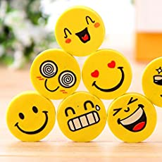 Generic Pack of 24 Smiley Erasers for Birthday Return Gifts