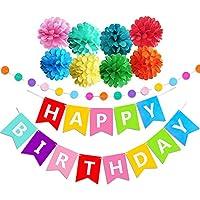 CALSAM Geburtstag Party Dekoration, Geburtstagsdeko, Happy Birthday Girlande - für Mädchen und Jungen Jeden Alters