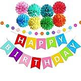 Geburtstag Party Dekoration, Geburtstagsdeko, Happy Birthday Girlande - für Mädchen und Jungen Jeden Alters