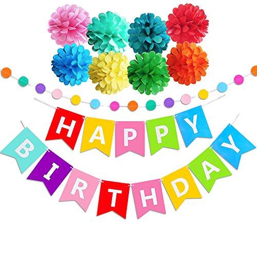 Geburtstag Party Dekoration, Geburtstagsdeko, Happy Birthday Girlande - für Mädchen und Jungen Jeden - Geschenk Mädchen Geburtstag Party