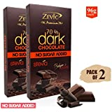 Zevic 70% Belgian Dark Chocolate With Stevia - Sugarfree (8 Pcs) - Pack Of 2