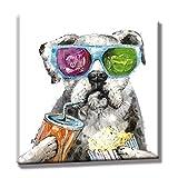 YISUMEI 40x60 cm Poster oder Leinwand-Bild gespannt Keilrahmen Malerei Canvas Gemälde Tier Nette Bulldogge