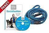 Hundeflüsterer Cesar Millan Leine Hundehalsband Illusion Collar Blau mit Hauch von Grün und Schwarz inkl. Socialization DVD Hunde Sozialisierung Grundlagen der Hundeerziehung Essentials of Dog Behavior Hundeflüsterer