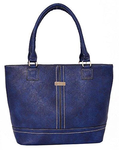 Kukubird Charly Finto Cuoio Metal Bar & Dettaglio Cucitura Spalla Top-Handle Tote Handbag Blue