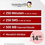 DeutschlandSIM SMART 250 [SIM, Micro-SIM und Nano-SIM] monatlich kündbar (500MB Internet-Flat, 250 Frei-Minuten, 250 Frei-SMS, EU-Ausland inklusive, 14,95 Euro/Monat) Vodafone-Netz