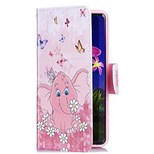 Uposao Kompatibel mit iPhone XS/iPhone X Handyhülle Handytasche Retro Bunt Muster Schutzhülle Flip Case Brieftasche Klapphülle Wallet Leder Hülle Cover Tasche Magnet,Elefant Schmetterling