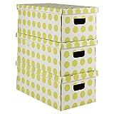 Ordinett 3Dotted Karton Aufbewahrungsbox mit Deckel grün