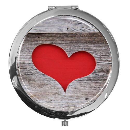 Miroir de poche / Coeur / Double agrandissement