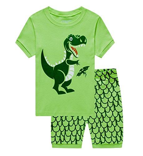 Showu Junge Baumwolle Kurzarm T-Shirt und Shorts Cartoon-Muster Bekleidungsset Set (Dinosaurier1, 6-7 Jahre) (Kurzarm-shirts Größe 6 Jungen)
