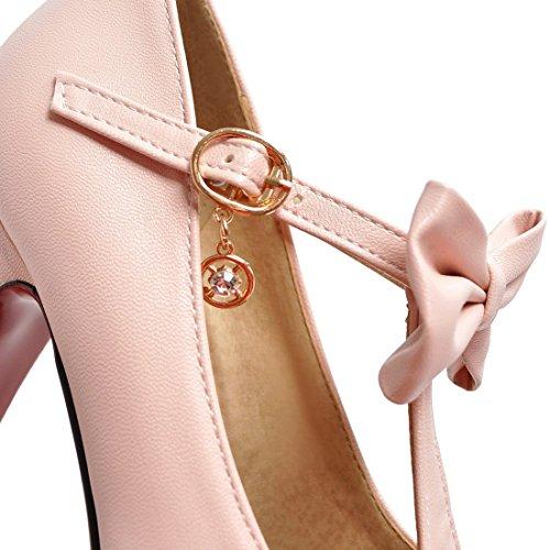 ... Damen Abend Heel Schleife spangen mit Elegant Schuhe Rosa Pumps  AIYOUMEI T High Plateau Blockabsatz acwq6Zqx1d ... 189d27317d