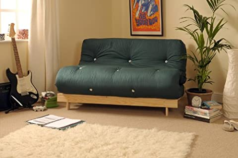 4ft Small Double 120cm Wooden Futon Set with GLADE GREEN