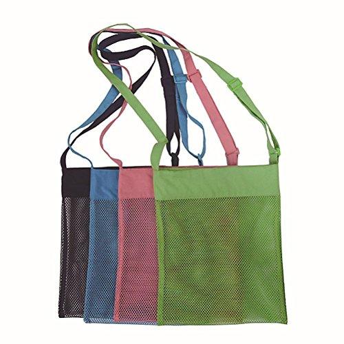 ounona 4er Pack Bunte Mesh Beach Taschen & #-; sand Dipper Shell sammeln Strand Tasche mit verstellbaren Tragegurten für Kinder Spaß (Mesh Bag Collection)